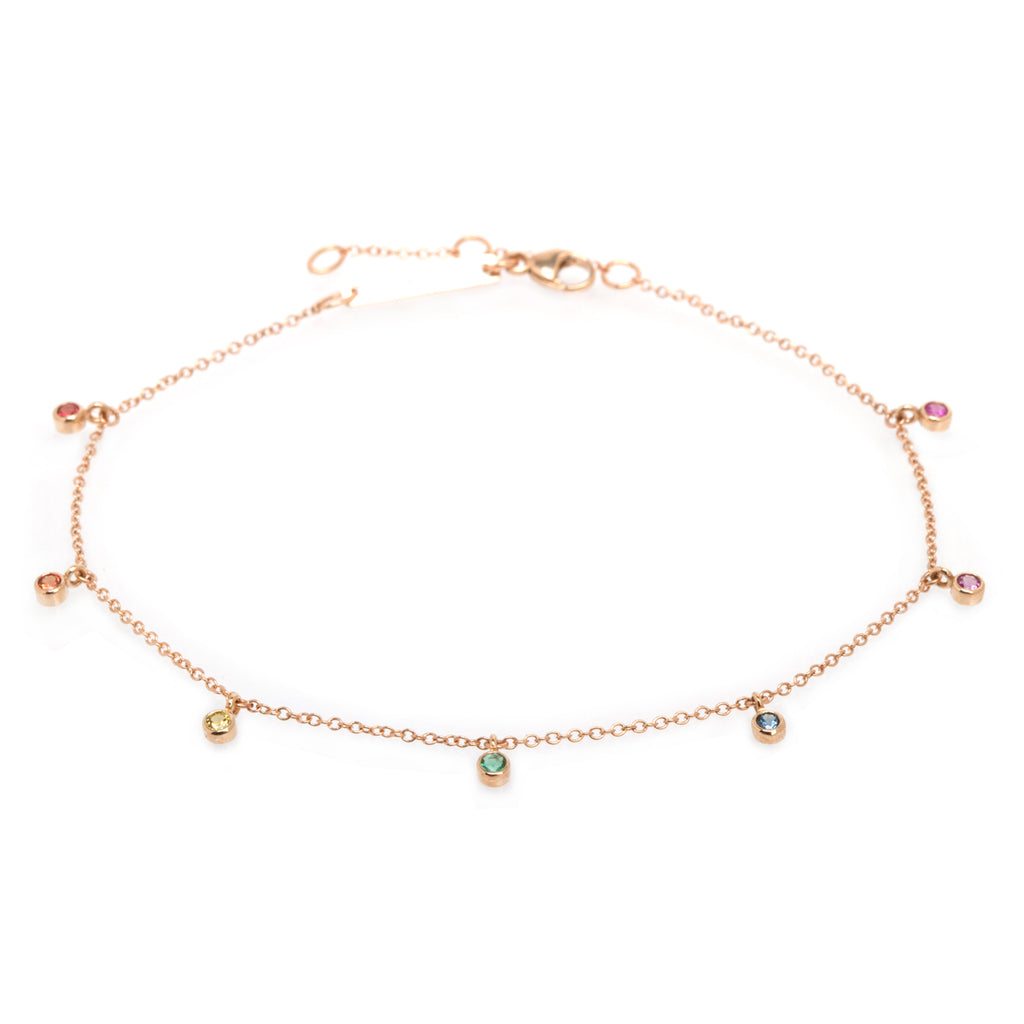 14k 7 dangling rainbow sapphires anklet