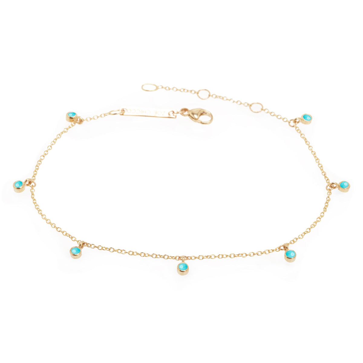 14k 7 dangling turquoise stones anklet