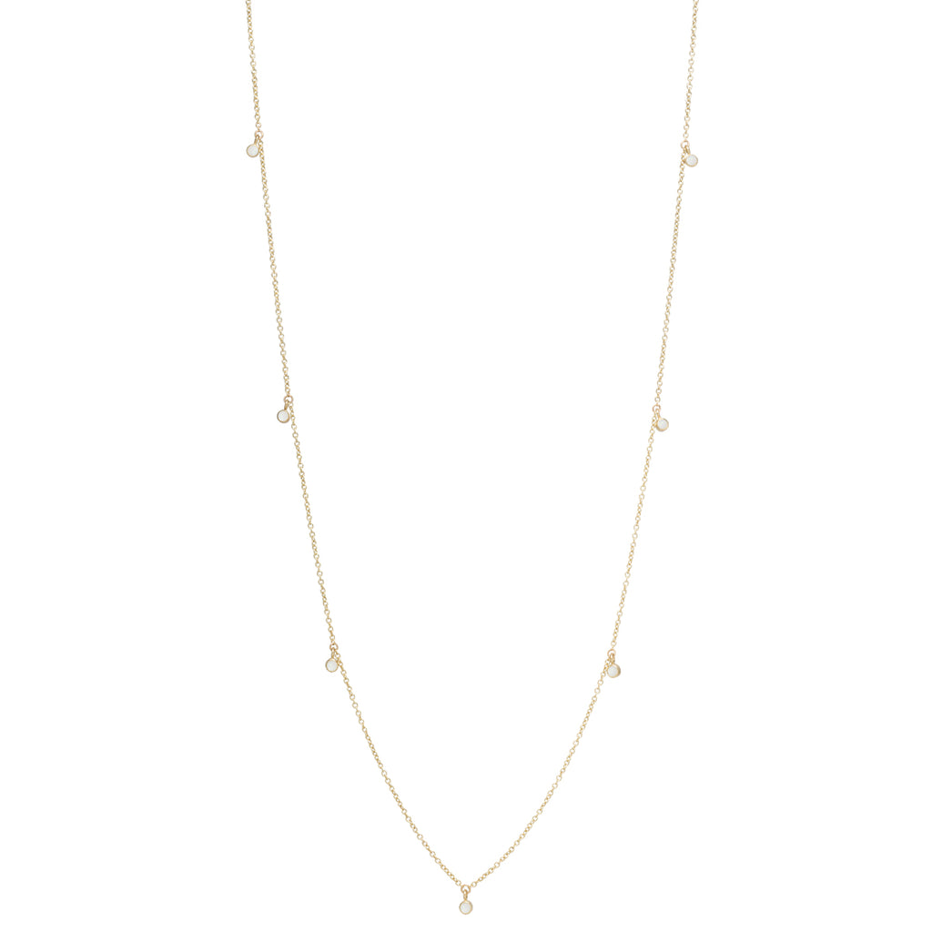 Zoë Chicco 14kt Yellow Gold 11 Dangling Opal Long Station Necklace
