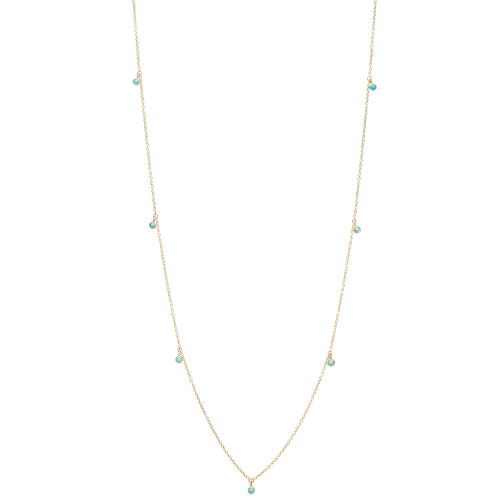 14k 11 dangling turquoise long station necklace