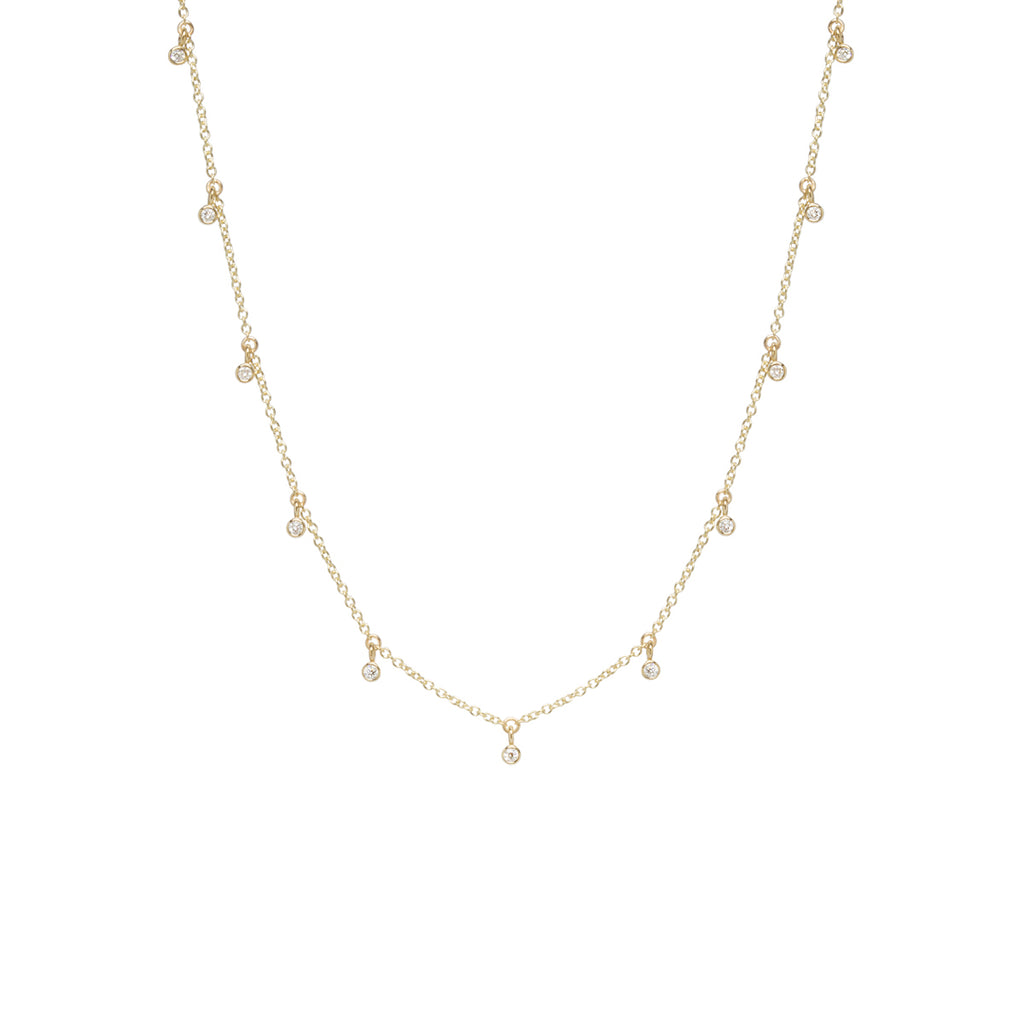 14k tiny 11 dangling diamond choker necklace