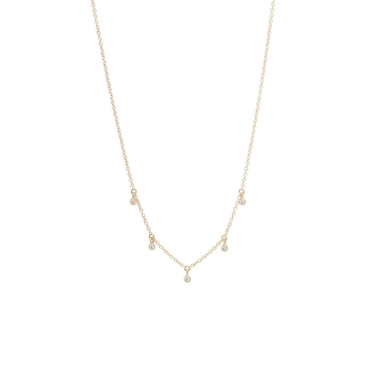 14k 5 dangling diamonds necklace