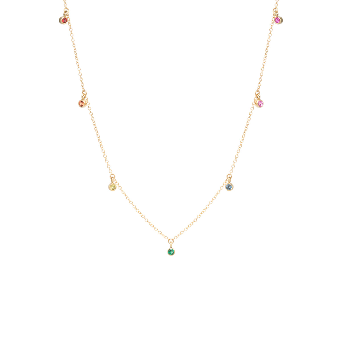 14k 7 dangling rainbow sapphire necklace