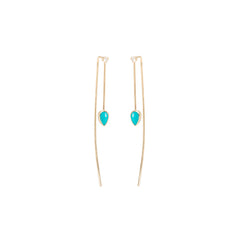 14k turquoise and white diamond wire earrings