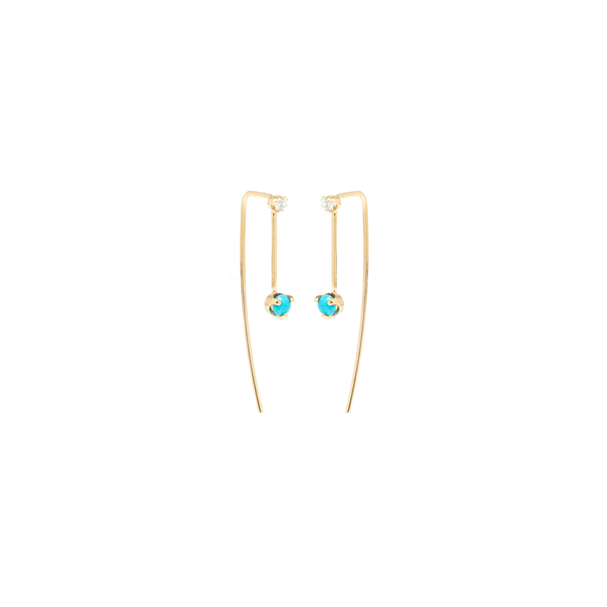 14k mixed prong set turquoise & diamond wire earrings