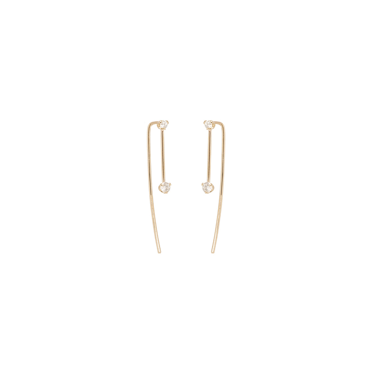 14k prong set diamond wire earrings