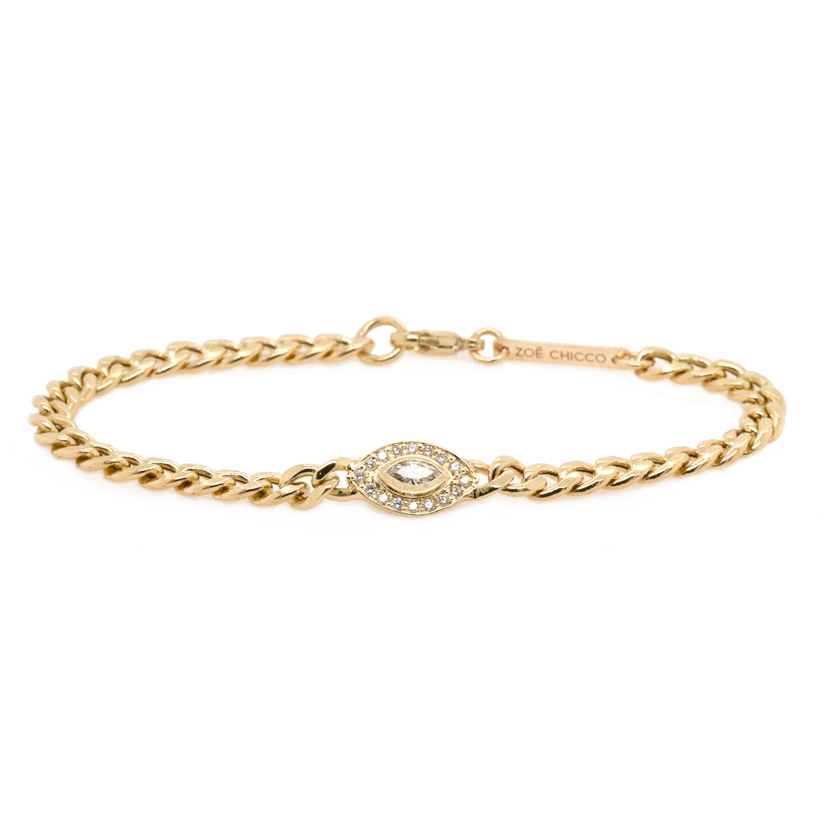 14k medium marquis diamond halo medium curb chain bracelet
