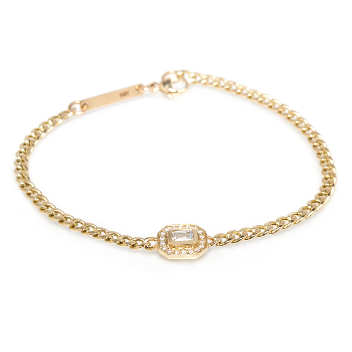 14k emerald cut diamond halo curb chain bracelet