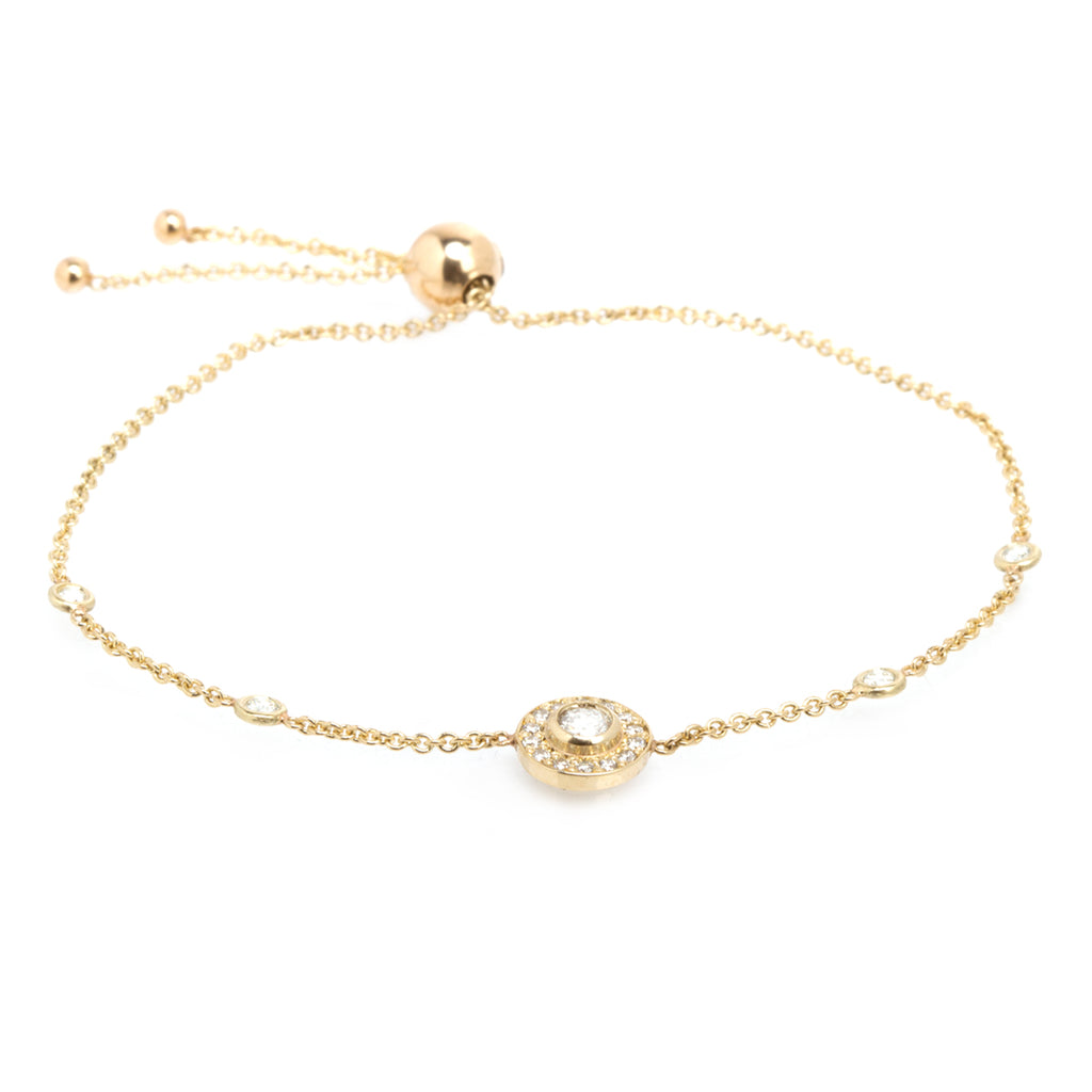 14k halo bolo bracelet with round diamond