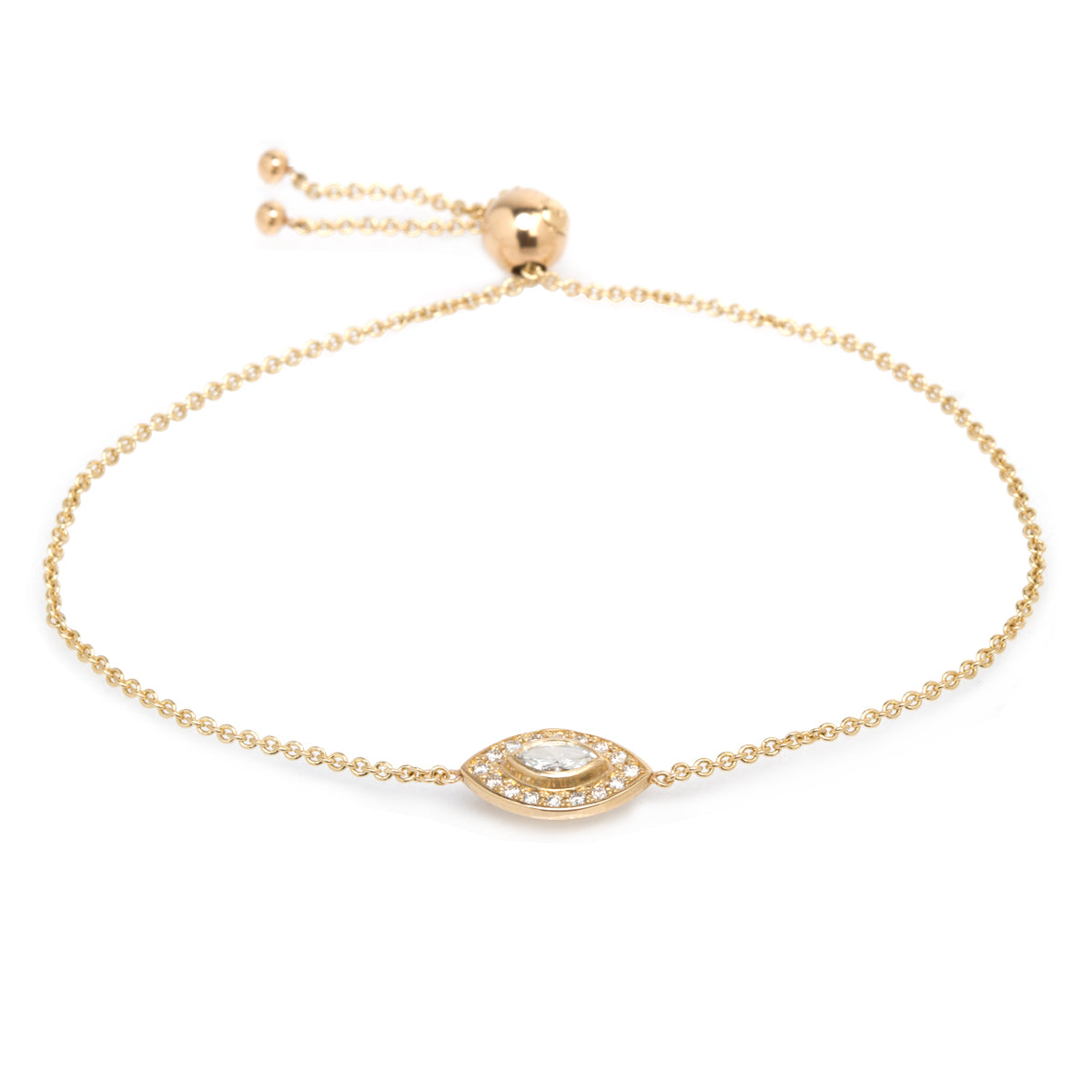 14k halo bolo bracelet with marquis diamond