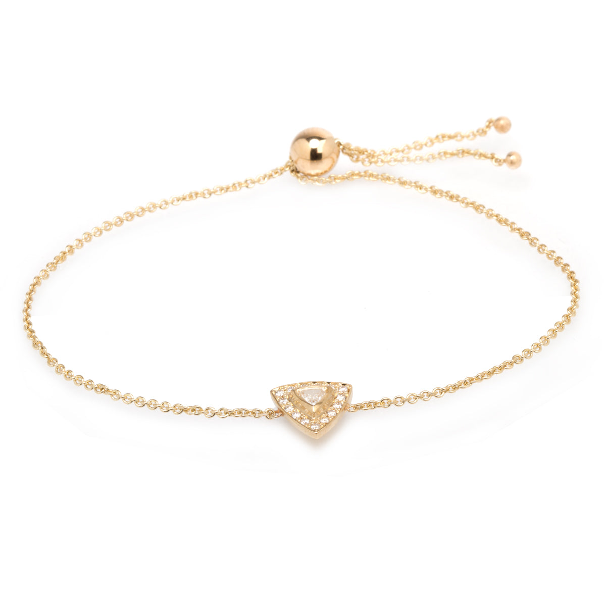 14k halo bolo bracelet with trillion diamond