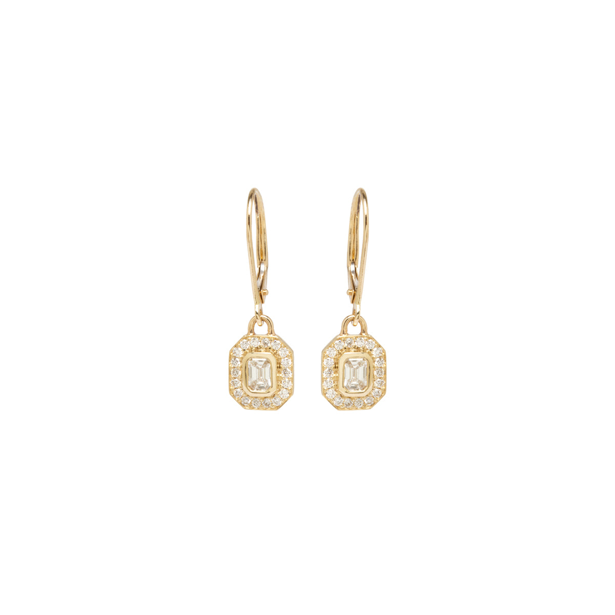 14k emerald cut diamond drop earrings with pave halo
