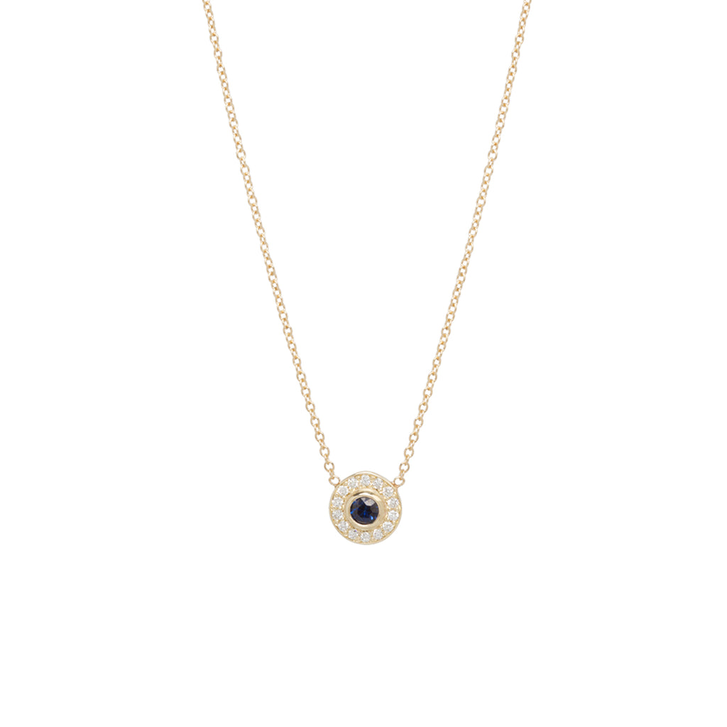14k round sapphire and diamond halo necklace