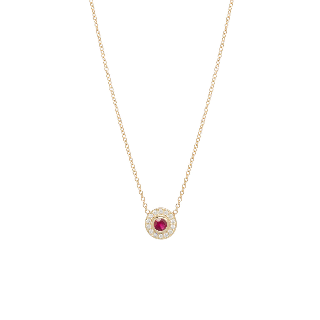 14k round ruby and diamond halo necklace