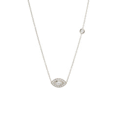 14k marquis diamond halo necklace