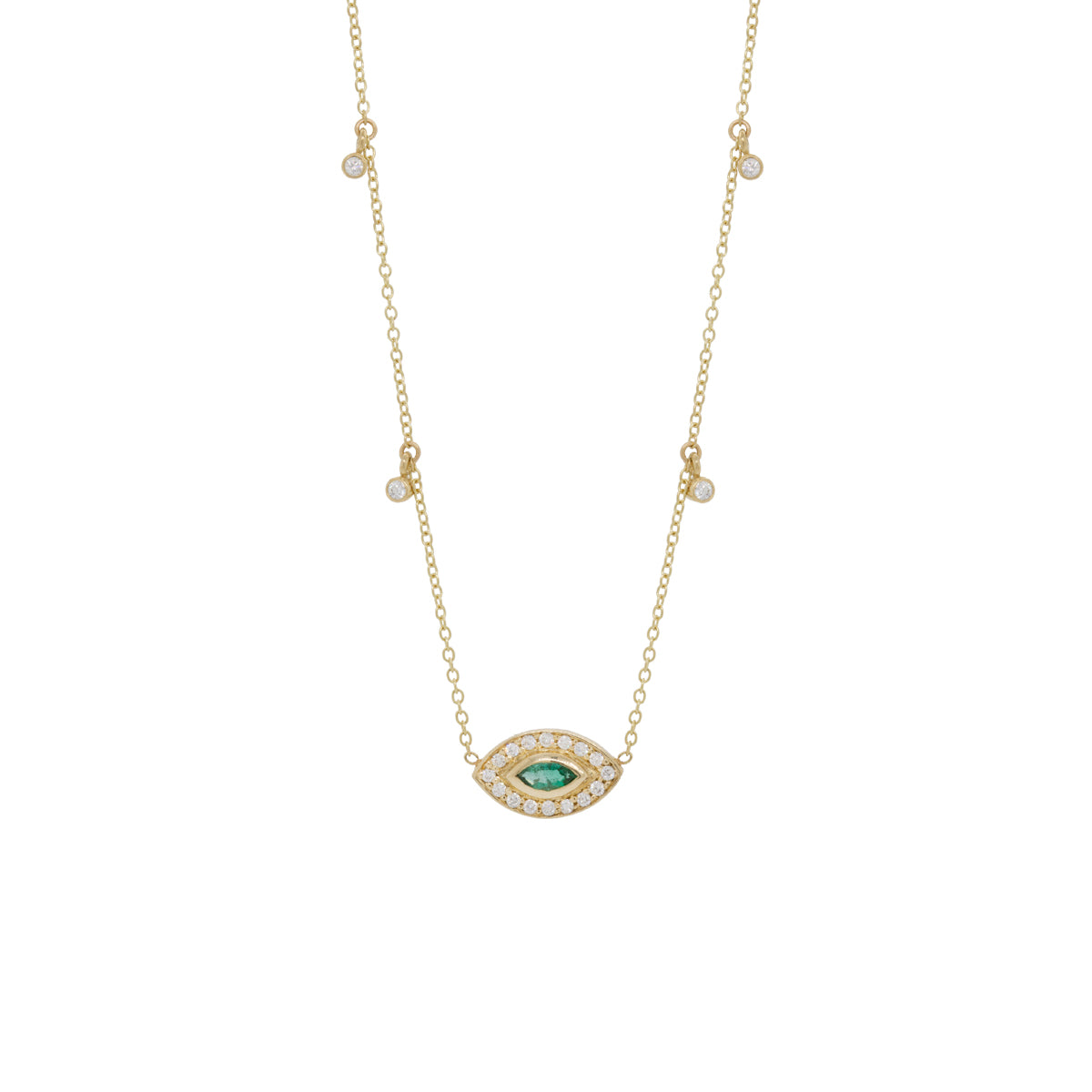14k marquis emerald diamond halo necklace with dangling diamonds