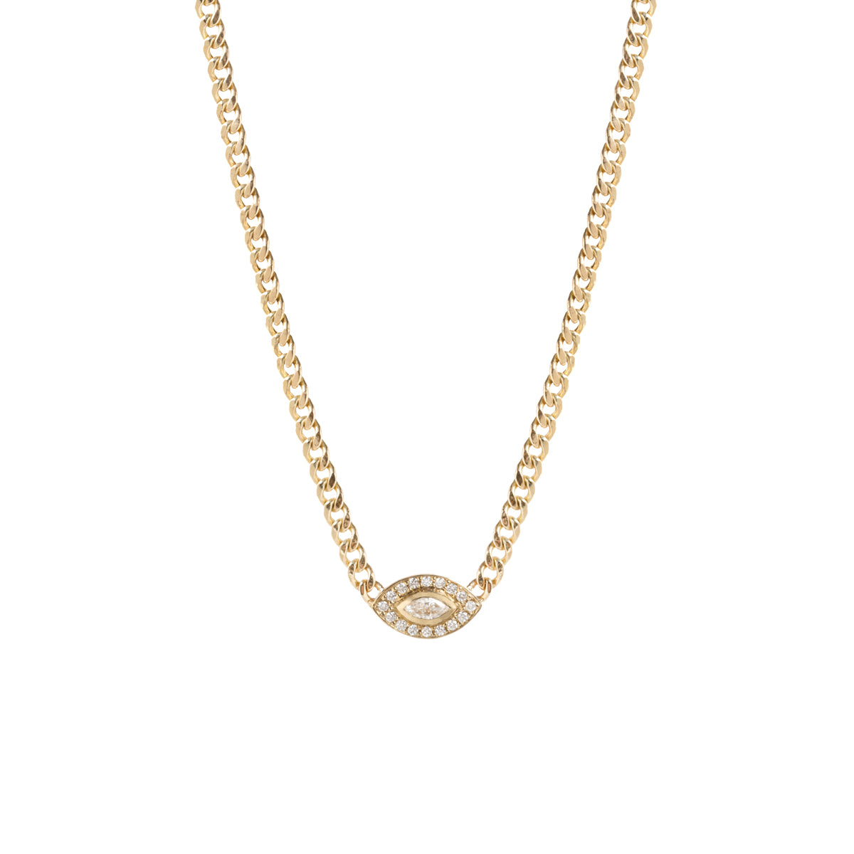14k gold diamond halo necklace with a marquis diamond eye