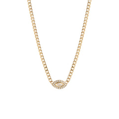 14k small curb chain diamond halo necklace with a marquis diamond eye