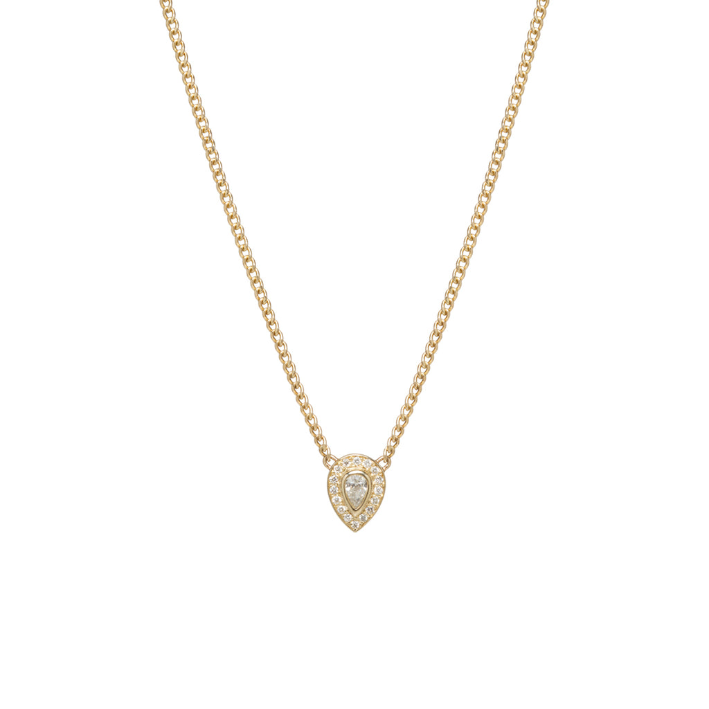 14k extra small curb chain necklace with pear diamond and pave halo