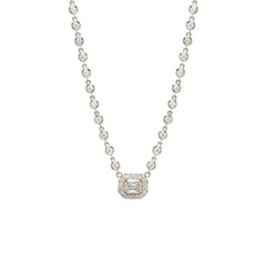 14k emerald cut diamond halo pendant with tennis diamond necklace