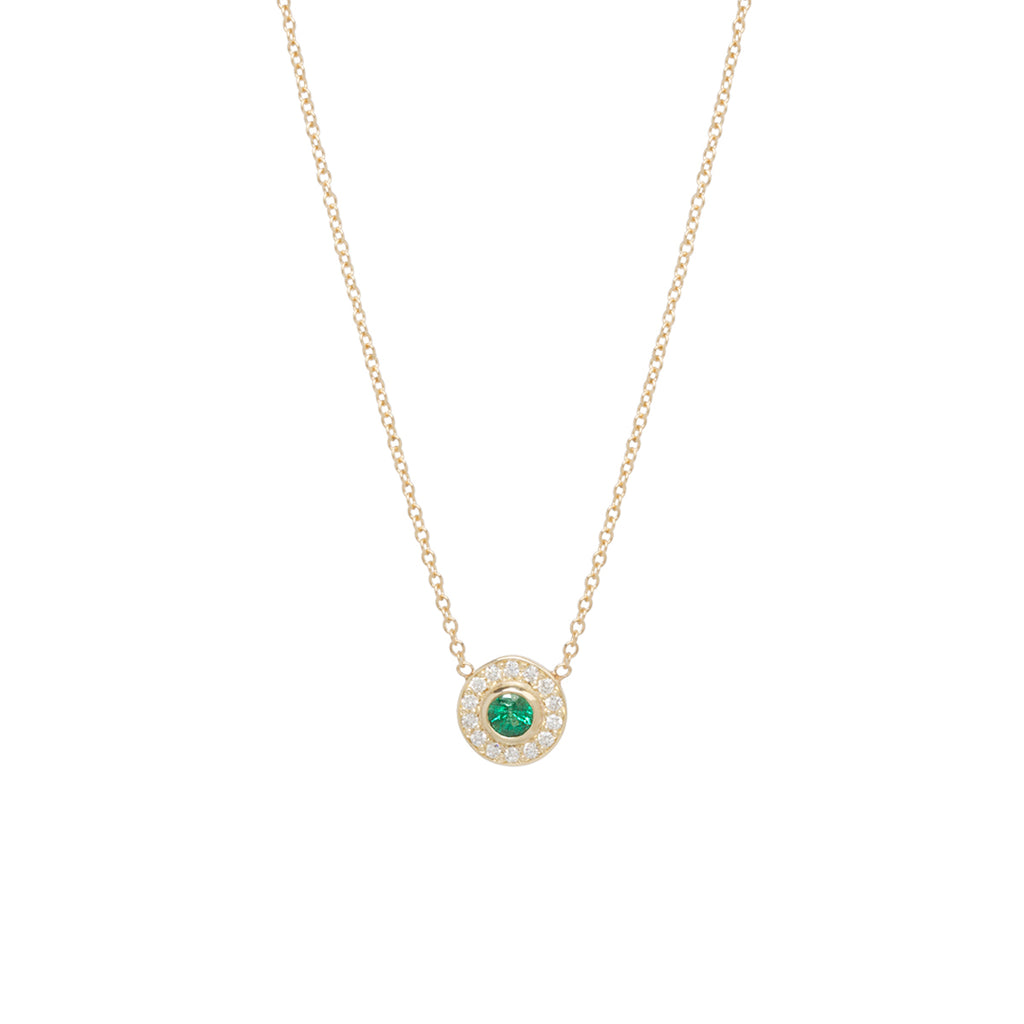 14k round emerald and diamond halo necklace