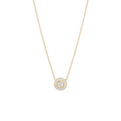 14k round diamond halo necklace