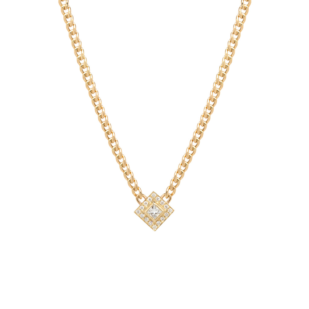 14k small curb chain necklace with princess diamond and pave halo
