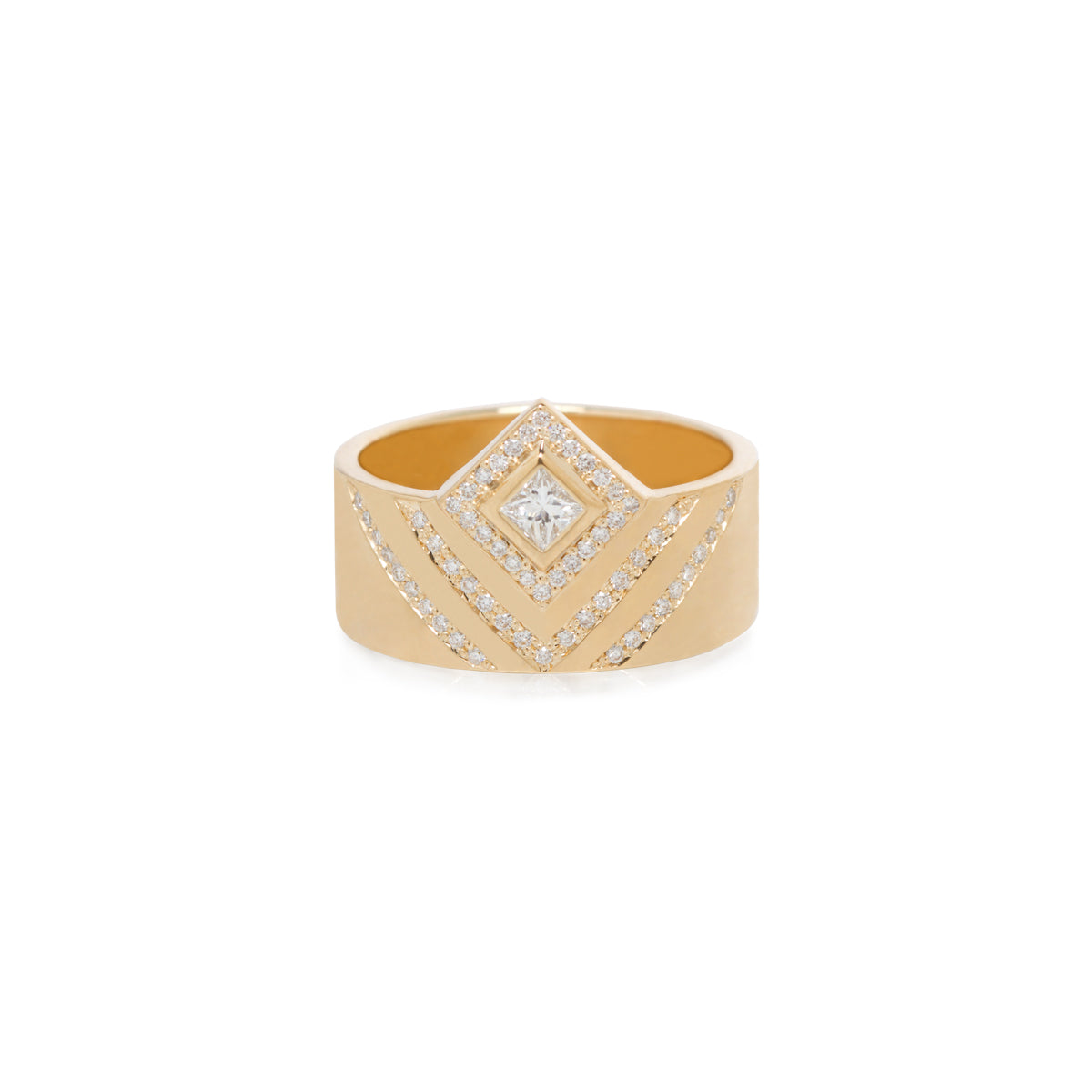 14k pave chevron and princess diamond wide flat band ring