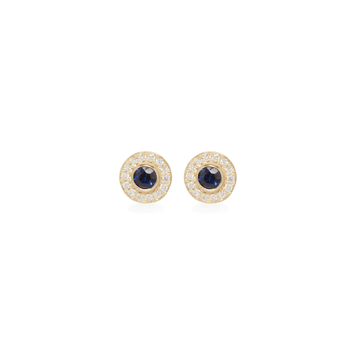 14k round sapphire studs with pave halo