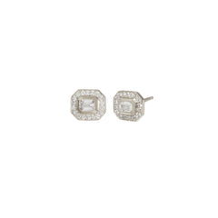 14k emerald cut diamond studs with pave halo