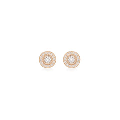 14k round diamond studs with pave halo