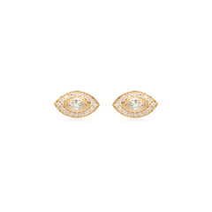 14k marquis diamond studs with pave halo