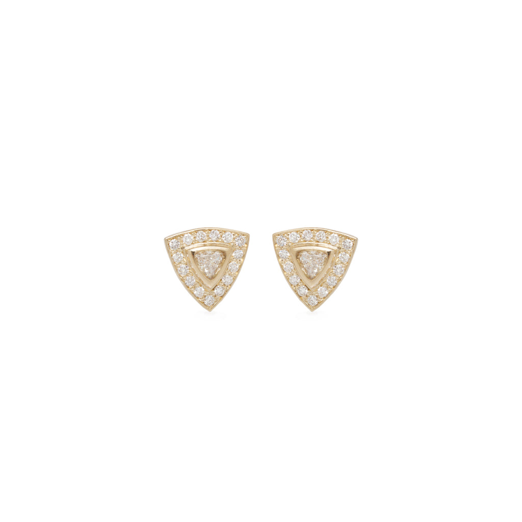 14k trillion diamond studs with pave halo