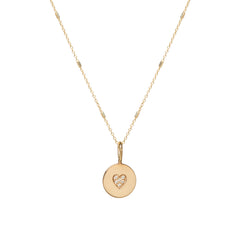 14k pave diamond heart disc necklace