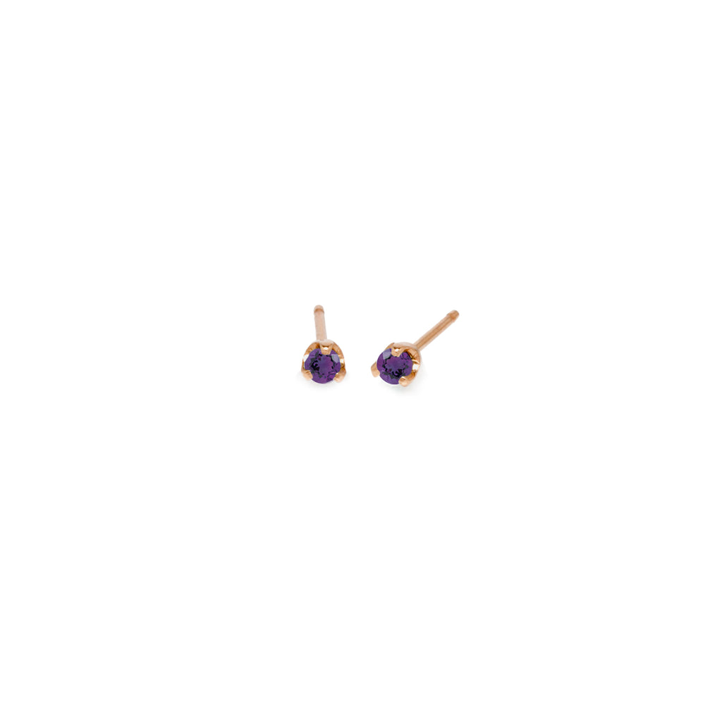 14k small amethyst prong studs | February BIRTHSTONE