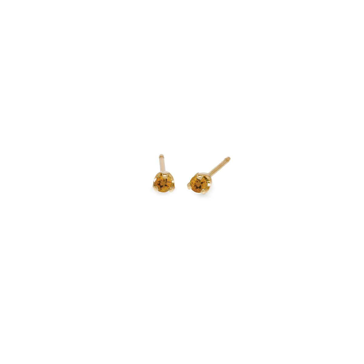 14k small citrine prong studs | November BIRTHSTONE