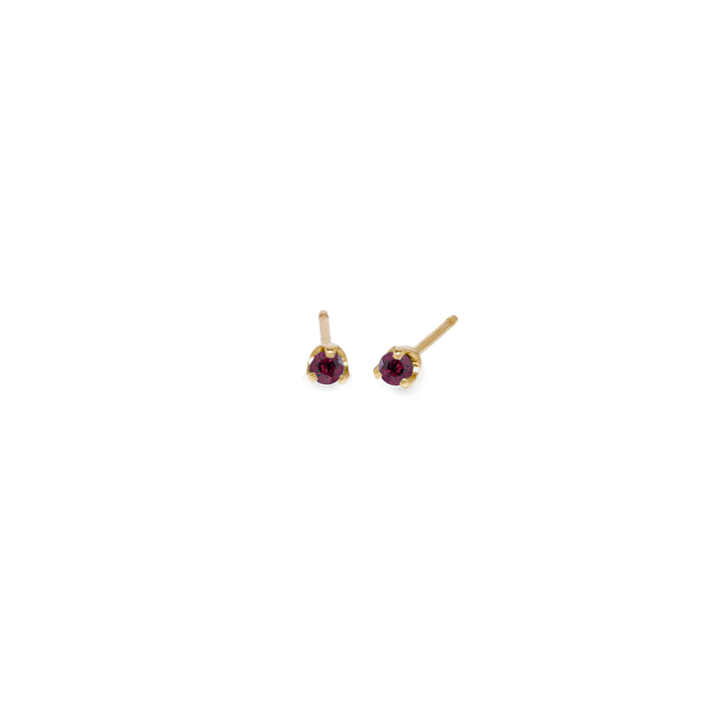 14k small garnet prong studs | January BIRTHSTONE