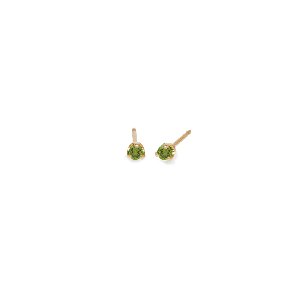 14k small peridot prong studs | August BIRTHSTONE
