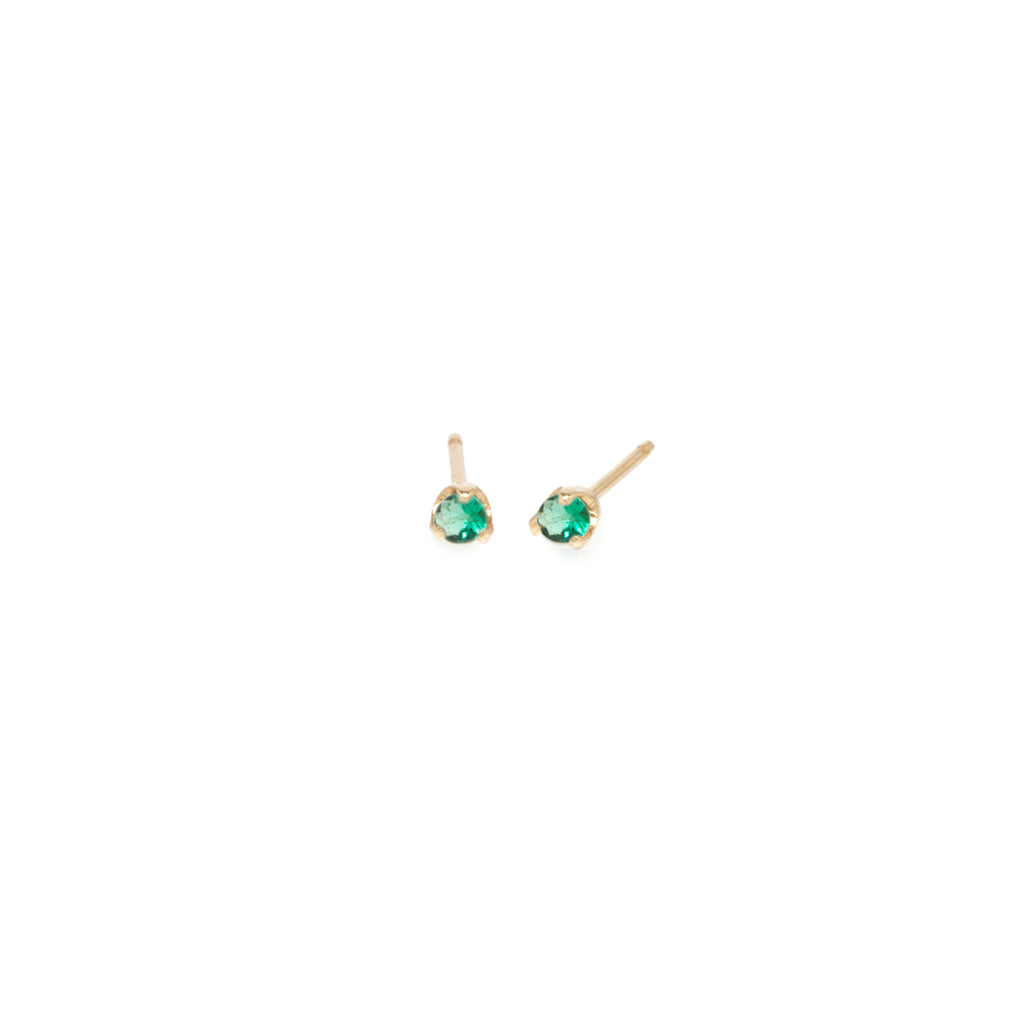14k small emerald prong studs | MAY BIRTHSTONE