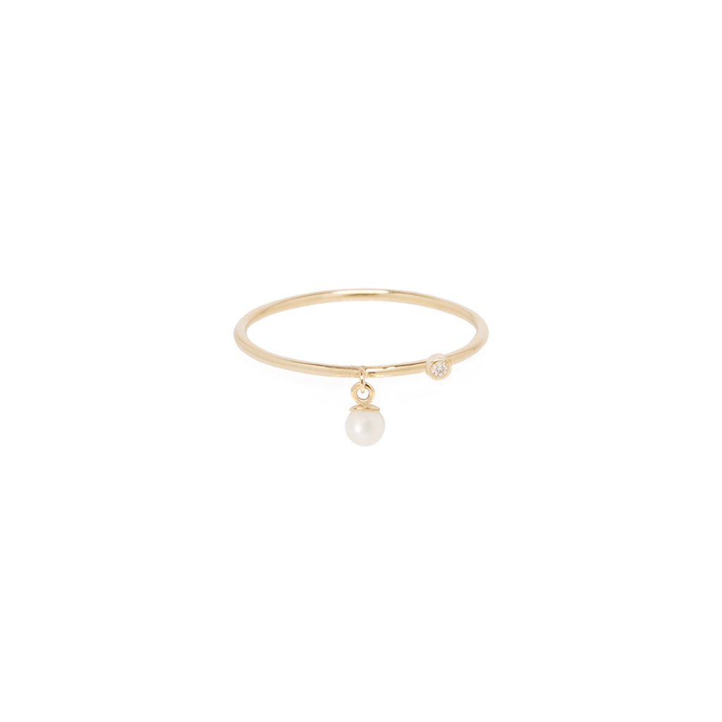 14k dangling tiny pearl and diamond thin band ring