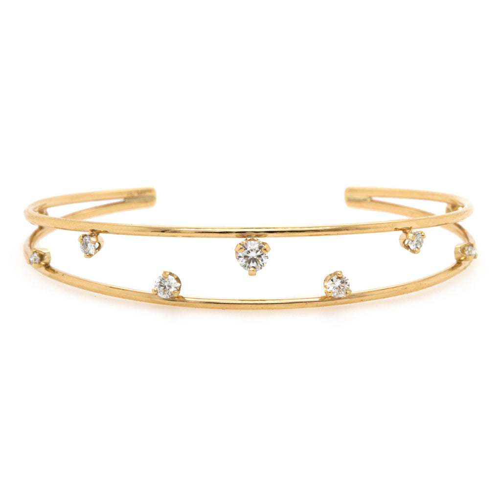 14k prong diamond double band open cuff