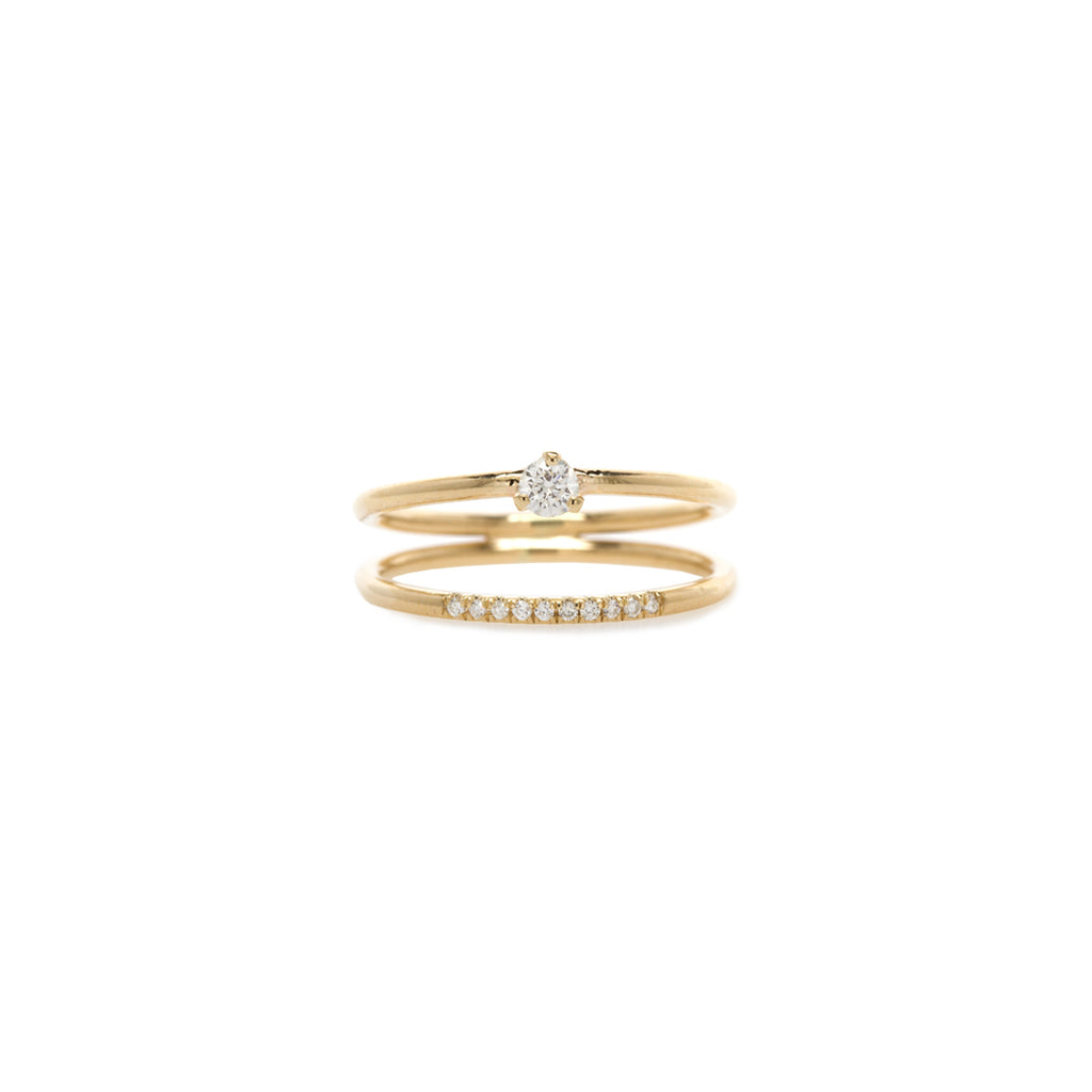 14k pave and prong set diamond double band ring