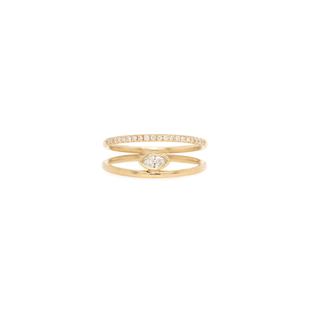 14k marquise diamond double band pave ring