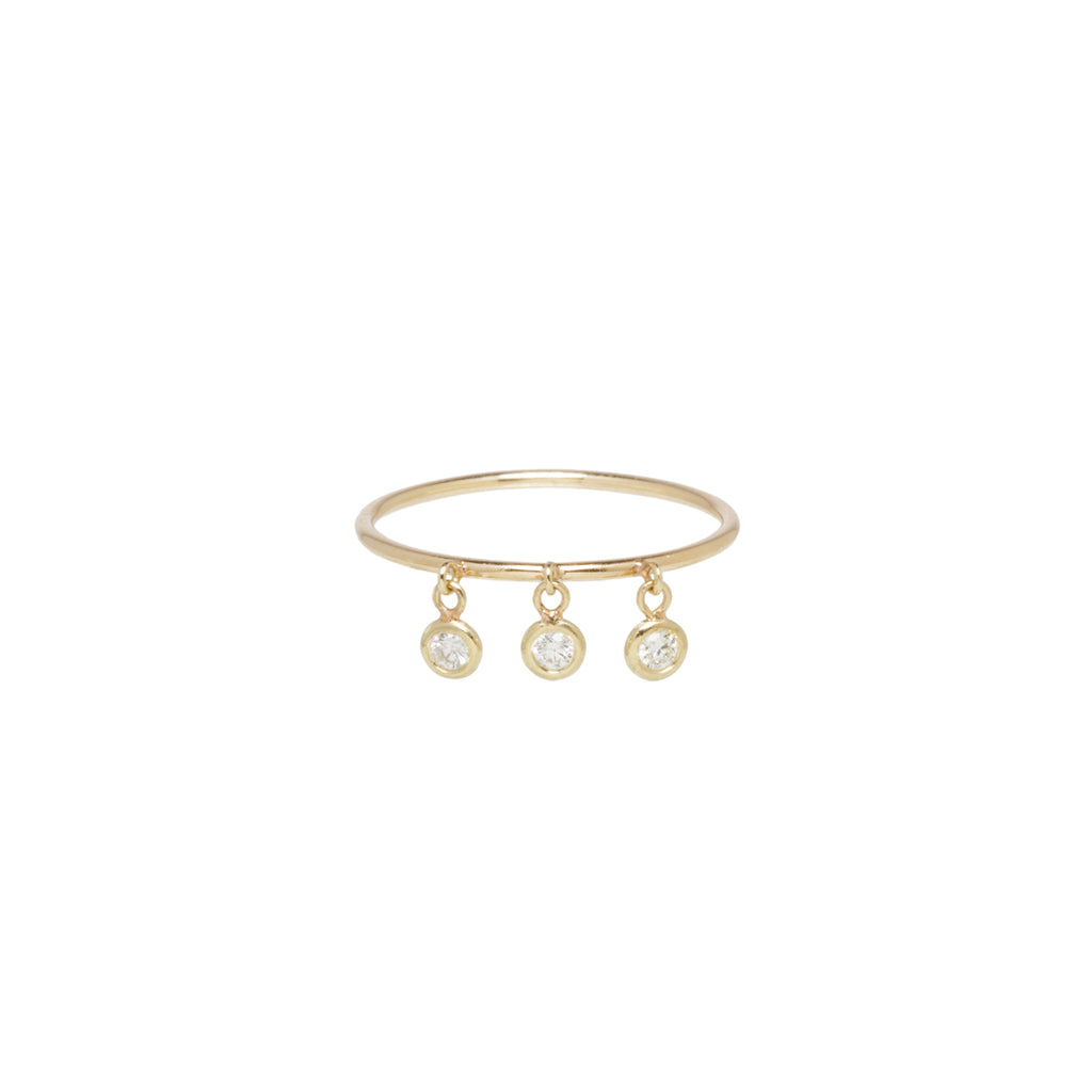 14k 3 dangling floating diamonds ring