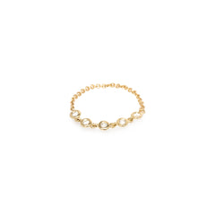 14k 5 floating diamonds chain ring