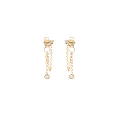 14k prong set diamond chain stud earrings with floating diamond dangle