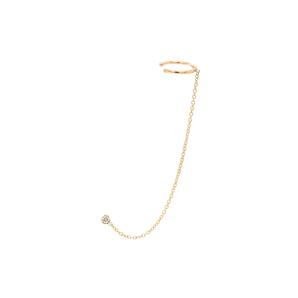 14k prong diamond chain ear cuff
