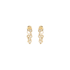 14k 5 linked diamond drop earrings