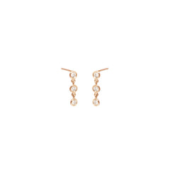 14k 3 linked diamond drop earrings