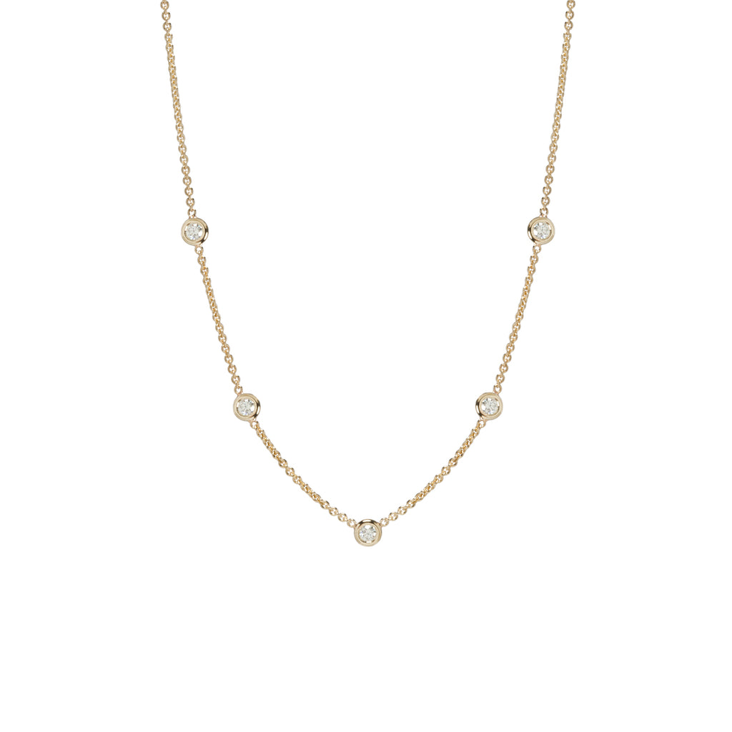 14k 5 large floating diamonds necklace